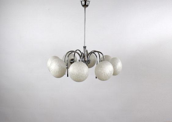 70er Jahre Hängelampe, Mid Century, Kugellampe, Pendant Lamp, Chrome Lamp, Bauhaus, Panton, Knoll,