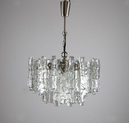 Kalmar Franken AG, Kalmar Hanging Lamp, 60s, Ice Glass Kalmar, Mid Century,