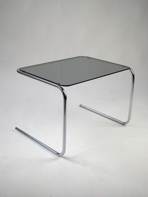 Side Table, 70s, Beistelltisch, Stahlrohr, Freischwinger, 60s, Bauhaus, Art Deco, Glastisch,