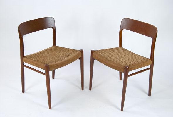 Niels O. Møller, Esszimmer Set, Møller Dining Chairs, Model 75, Danish Design, 1960s, 1950s, Scandinavian Design,