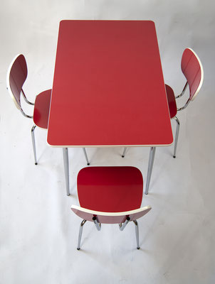 Diner Set 70s, Resopaltisch 70er Jahre, Resopal 70s, 60er Jahre, Kitchentable 70s Resopal, Resopal Stühle 70er Jahre, Bauhaus,