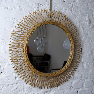 Spiegel Frankreich 60er Jahre, Bast, Rattan, Korb, Mirror 60s,