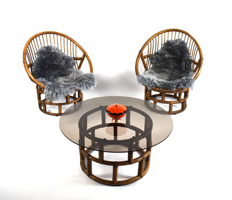 Rattan Möbel, Vintage Rattan, Rattan Sitzgruppe, Rattan Chair 60s, Egon Eiermann, Egg Chair, Panton 60s, 1960s, 1950s, Mid Century,
