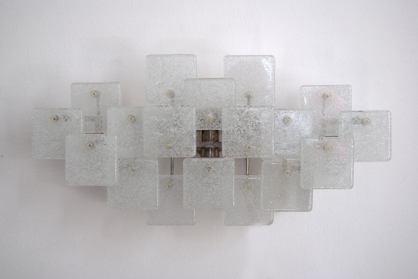 Eisglas Wandlampe, Kalkar Eis Glass, Ice Glass Wall Lamp, Kalkar Franken AG, 70s Wall Lamp, 70s Ice Glass,