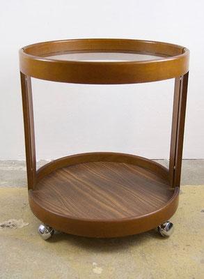 Runder Rollwagen Holz / Glas 60s