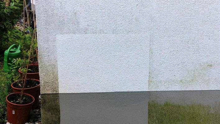 Probefläche vor der Fassadenreinigung