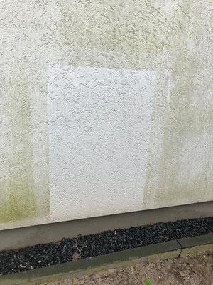 Ergebnis der Musterfläche einer Fassadenwäsche