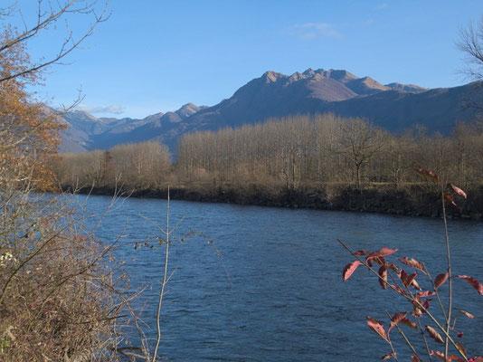 kanalisierter Ticino mit dem Camoghè und den unabsehbaren Pappelalleen
