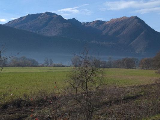 EinTeil des gewonnenen Weidelands mit dem Monte Tamaro
