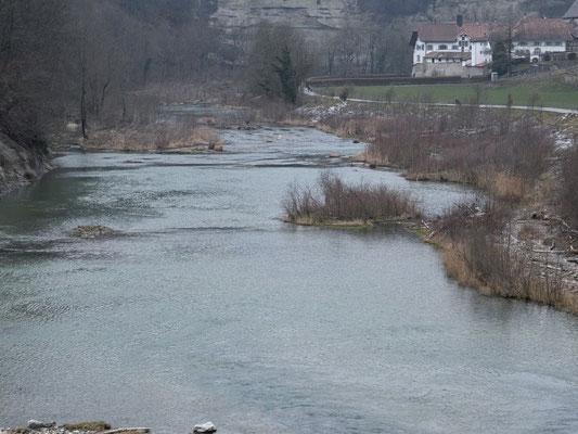 Vom Staudamm des Lac de Pérolles (Barrage de la Maigrauge) Saane-abwärts geblickt