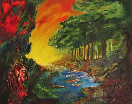Waldbrand | Acryl Mischtechnik auf Leinwand | 80×100cm | 2011