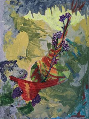 Fantasie mit Blumen |  Acryl Spachtel auf Leinwand | 80x60cm