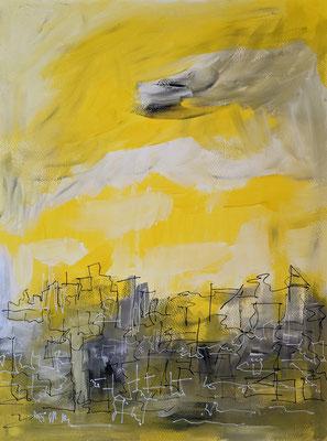 Gelber Himmel | Acryl und Acrylmarker auf Papier | 36x48cm | 2021