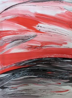 Roter Himmel | Acryl und Acrylmarker auf Papier | 36 x 48 cm | 2021