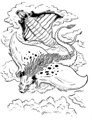 "Inktober drawing, 2017. ""Draco-rays"" 9x12"""