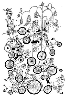 Mustache Riders Design Final Ink Work for DSF Clothing Co. 14x17""