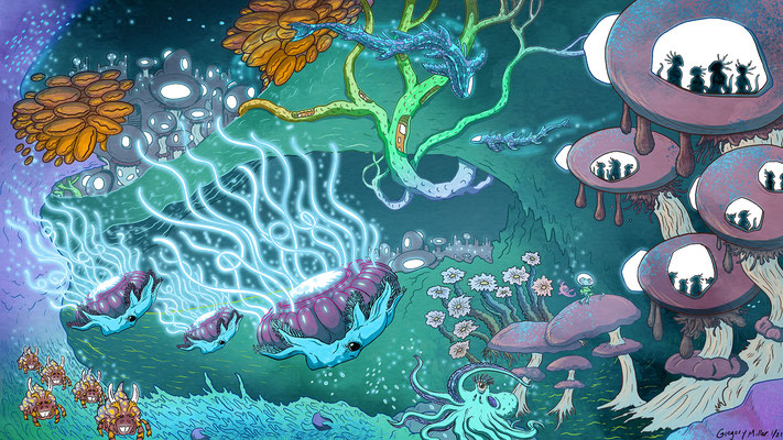 Whimsical environments commission for a private client. Water Environment 1/3.