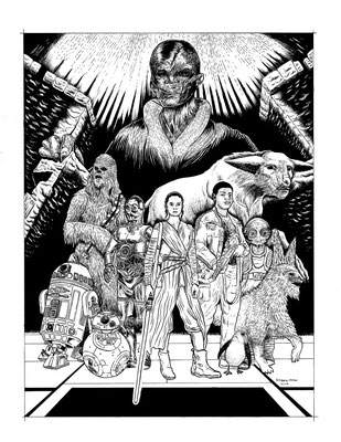 Star Wars The Last Jedi Coloring Book Illustration for Zimbio. 16x20""