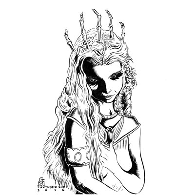 "Inktober drawing, 2016. ""Linris"" 9x12"""