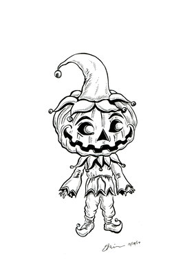 "Inktober drawing, 2017. ""Pumpkin Head"" 9x12"" See Character Art Section of Website for sale of original drawing."