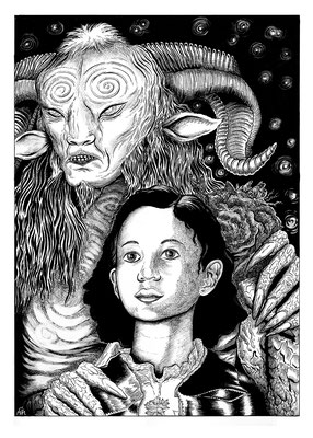 "Pan's Labyrinth. 14x17"" Art book entry. Original is available."