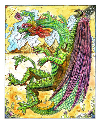 Cactus Dragon Illustration for Cactus Garden at Gristle Art Gallery, Brooklyn, NY.