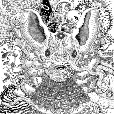 "Album Back Cover for 'Bunnies; Transportation To Mind Transformation' on Vinyl. ""Unchain Brain"" 14x17"""