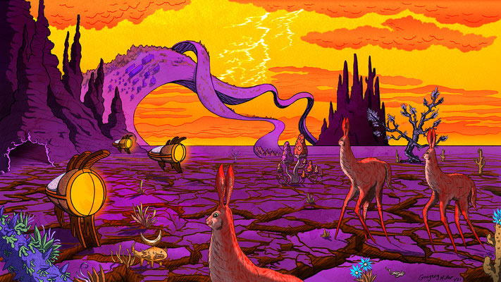 Whimsical environments commission for a private client. Hot Desert Environment 2/3.
