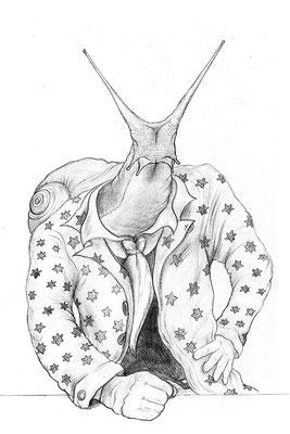"The Great Escargot. Graphite on bristol. 11x14"" $300"