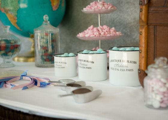 Dekoverleih Emaille-Gefäße für Candy Bar