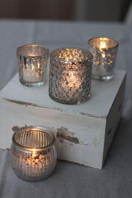 Dekoverleih Teelichthalter Silber