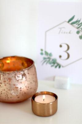 Dekoverleih Teelichthalter Roségold Kupfer