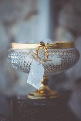Dekoverleih Bonbonière Glas mit Gold