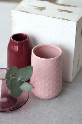 Dekoverleih Vase Rosa mit Tupfen