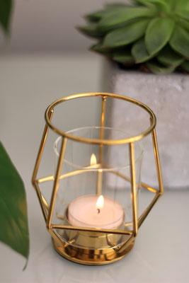 Dekoverleih Teelichthalter Gold geometrisch