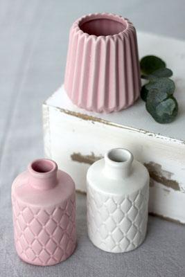 Dekoverleih Vase Prozellan Weiß und Rosa