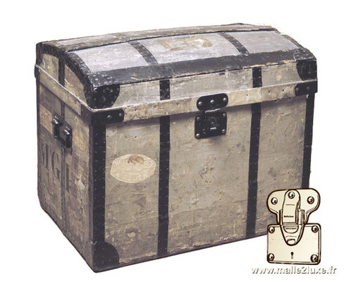 Louis Vuitton chest gray canvas steel trunk