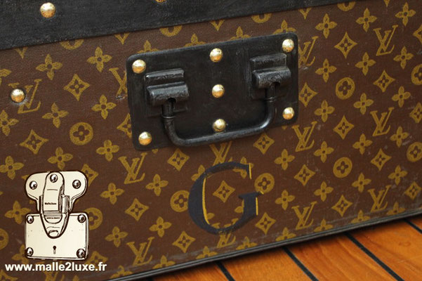 malle de voyage lOuis Vuitton poignée metal laqué