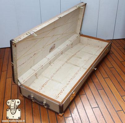 Malle limousine Moynat beige intérieur toile tissu