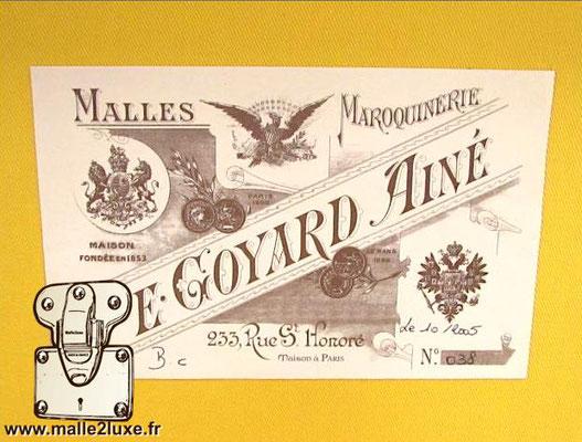 old goyard trunk label