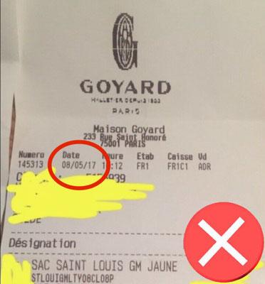 ticket de caisse goyard sac maison 233 rue saint honoré
