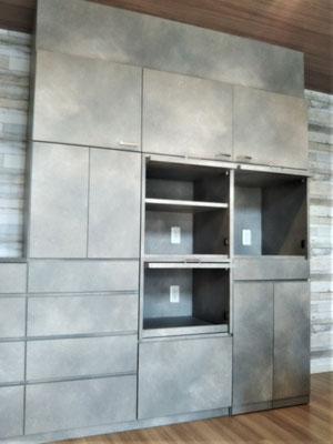 水平収納扉 キッチン収納 カップボード