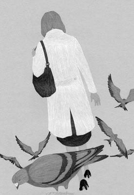 『読楽』 6月号(2019)「鳩護」第1話 河﨑秋子氏著 挿絵 出版:徳間書店