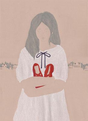 コンペ課題作品『赤い靴』(アンデルセン)装画を描くコンペティションvol.16入選