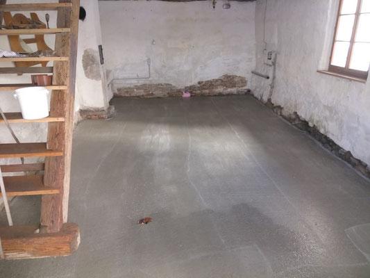 Der Betonboden ist fertig