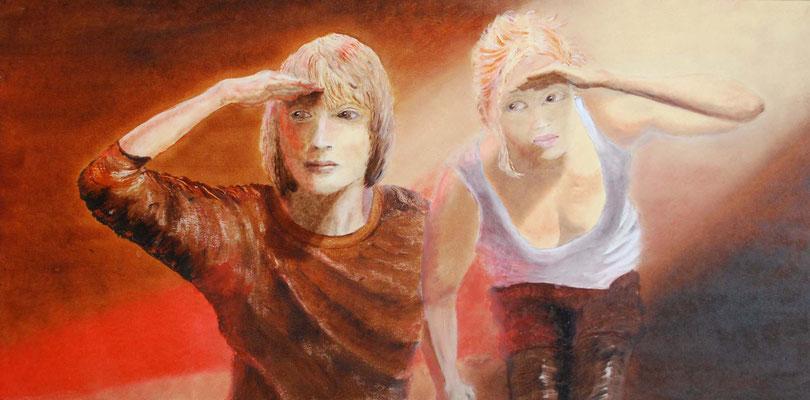 Anne Peschlow /Was geht hier ab, Öl auf Holz, 2014, 30x60 cm