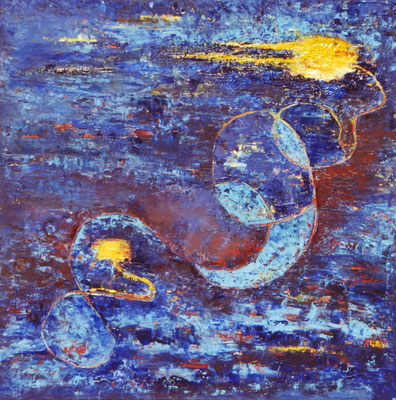 Anne Peschlow / Das blaue Bild, Öl auf Holz, 54x54 cm