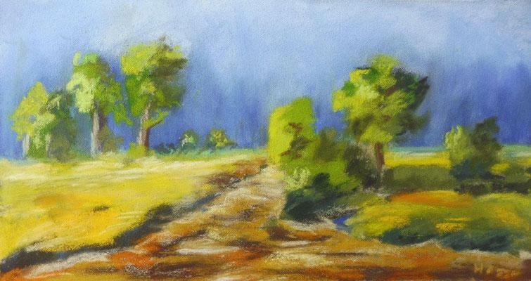 Feldweg, 30x16 cm, Pastell, Heike Hesse