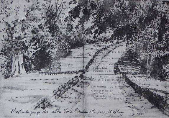 Weg auf dem Schloßberg -ehemalige Festung von Vauban / Radierung Annette Burrer