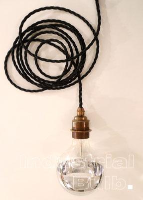 Industrial Bulb, Messing, Edison, Textilkabellampe, Textilkabel, Leuchte